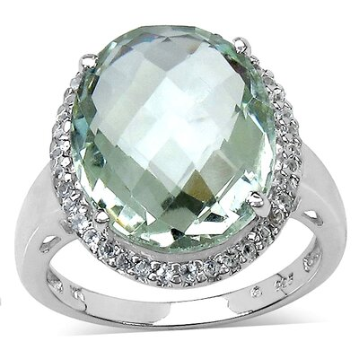 925 Sterling Silver Oval Cut Green Amethyst Halo Ring