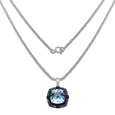 JewelzDirect 925 Sterling Silver Cushion Cut Topaz Pendant