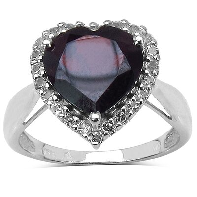 925 Sterling Silver Heart Cut Garnet Halo Ring