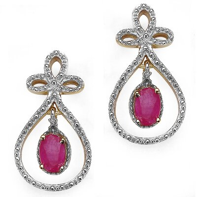 Oval Cut Ruby Drop Earrings