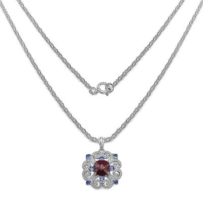 JewelzDirect 925 Sterling Silver Round Cut Ruby Pendant