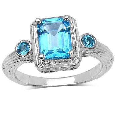 925 Sterling Silver Emerald Cut Swiss Blue Topaz Ring