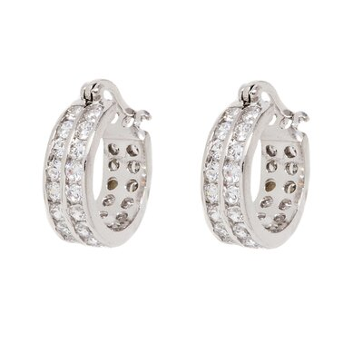 DK Sterling Cubic Zirconia Double Row Hoop Earring