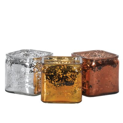 3 Piece Mercury Cube Vase Set