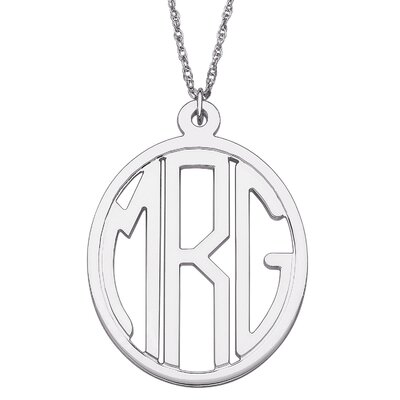 Sterling Silver Tailored Oval Monogram Pendant