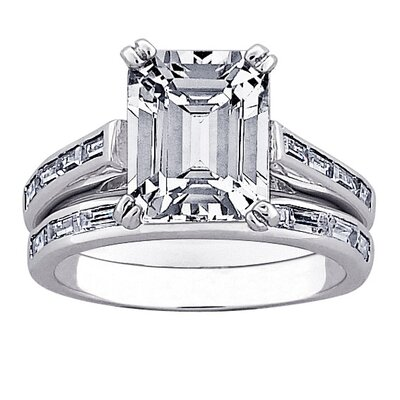 Platinum Plated Sterling Silver Emerald Cut Cubic Zirconia Bridal Set