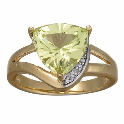 14K Gold Plated Sterling Silver Trillion Cut Faux Peridot Ring