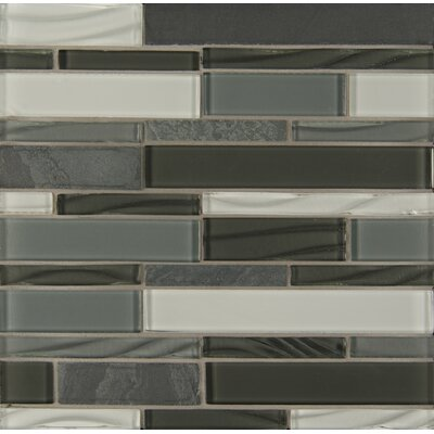 Random Sized Stone Mosaic Linear Tile in Organic Pewter