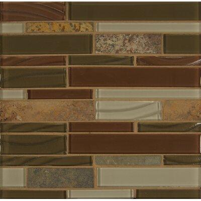 Random Sized Stone Mosaic Linear Tile in Ruby Silk