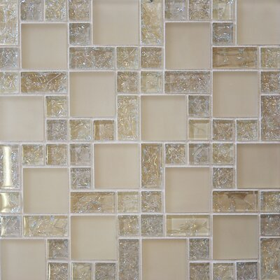 Ice Crackle Random Sized Mosaic Gloss Matte Tile in Cream