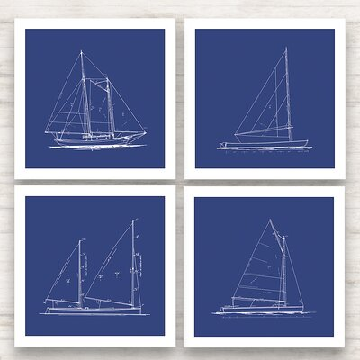 Sailboat Blueprint Framed Graphic Art