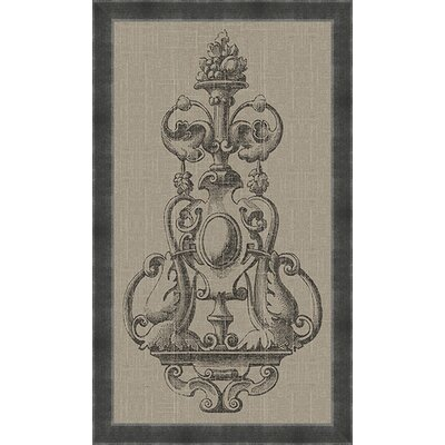 Ornamental Fountain Taupe Linen Framed Graphic Art