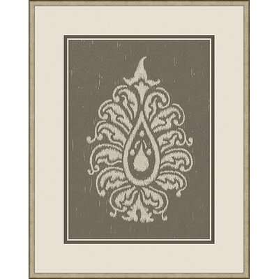 Paisley II Framed Graphic Art in Taupe and Grey