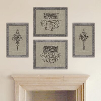 Style Francis Distressed Taupe Linen 2 Piece Framed Graphic Art