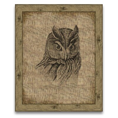 A Rustic Retreat Owl on Antique Linen Wall Art