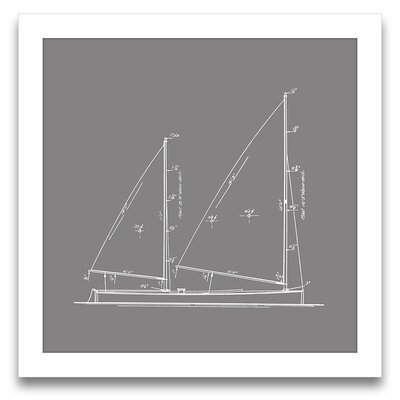 Sail Away Sailboat Blueprint IV Wall Art
