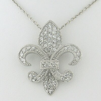 Splendor Jewelry Religious Sterling Silver Fleur-de-Lis Cubic Zirconia Necklace