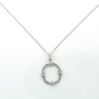 Splendor Jewelry Sterling Silver Open Circle Flower Cubic Zirconia Necklace