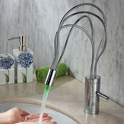 Single Handle Deck Mount LED Bathroom Sink Faucet - S1332CL