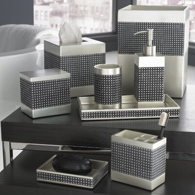 Parc East Grid Bath Accessory Collection in Silver Graphite