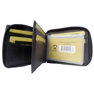 Lambskin Leather Bi-Fold Zip Wallet