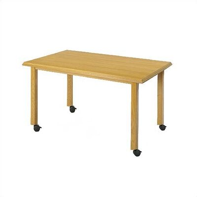 "Lesro Contemporary Series 72"" Rectangular Gathering Table with Radius Profile  (4 Post Base w/ Casters)"