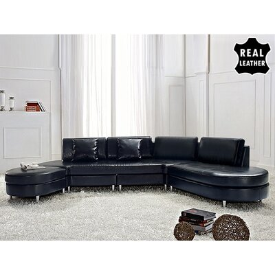 Beliani Copenhagen Leather Stationary Sectional