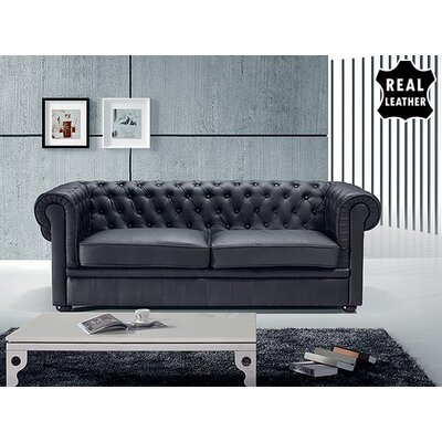 Chesterfield Leather Stationary Sofa