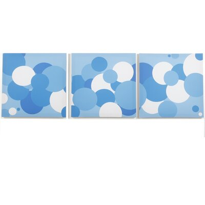 Modern Littles Sky Baby Boy Bubbles Canvas Print (Set of 3)