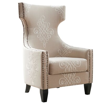 TOV Furniture Gramercy Embroidered Wing Chair
