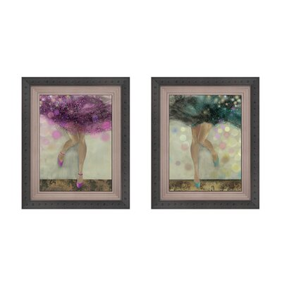 City Ballerinas Button 2 Piece Framed Painting Print Set