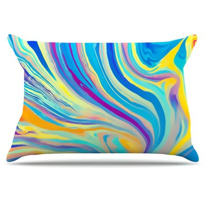 KESS InHouse Rainbow Swirl Pillowcase