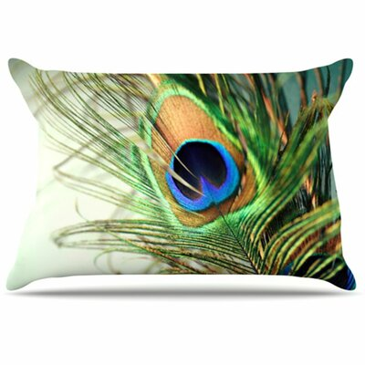 KESS InHouse Peacock Feather Fleece Pillow Case