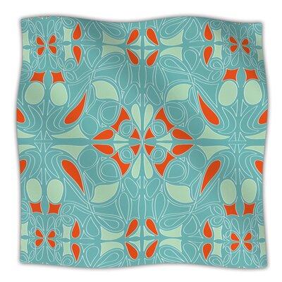KESS InHouse Seafoam and Orange Microfiber Fleece Throw Blanket