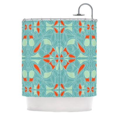 KESS InHouse Seafoam and Orange Polyester Shower Curtain