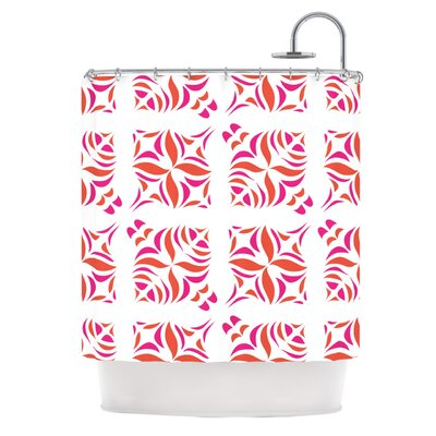 KESS InHouse Orange Oasis Polyester Shower Curtain