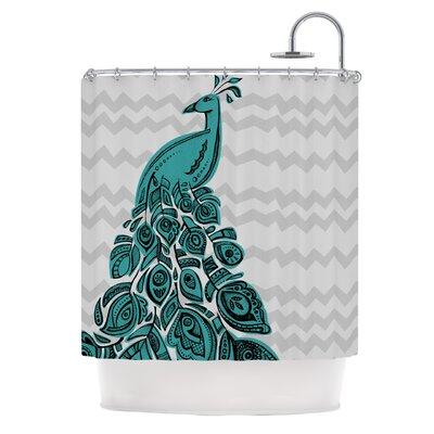 KESS InHouse Peacock Polyester Shower Curtain