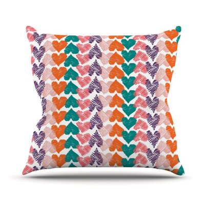 KESS InHouse Hearts Throw Pillow