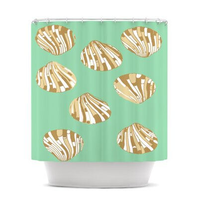 KESS InHouse Scallop Shells Polyester Shower Curtain