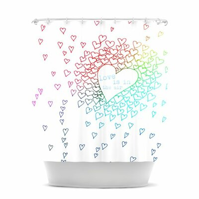 KESS InHouse Rainbow Hearts Polyester Shower Curtain
