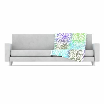 KESS InHouse Blue Bloom Softly for You Fleece Throw Blanket