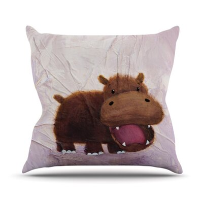 KESS InHouse The Happy Hippo Throw Pillow