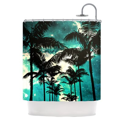 KESS InHouse Palm Trees and Stars Polyester Shower Curtain