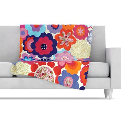 KESS InHouse Patchwork Flowers Fleece Throw Blanket
