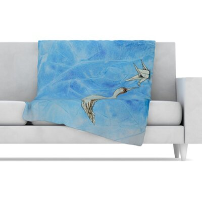 KESS InHouse Crane Fleece Throw Blanket
