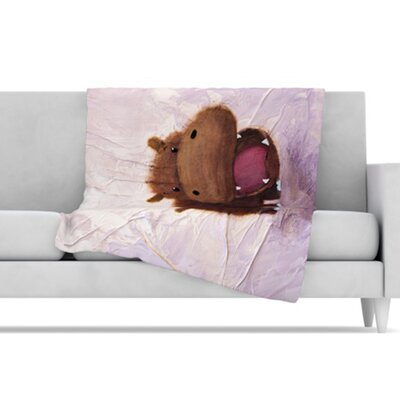 KESS InHouse The Happy Hippo Fleece Throw Blanket