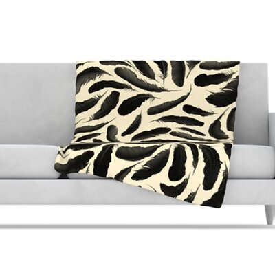 KESS InHouse Feather Pattern Fleece Throw Blanket