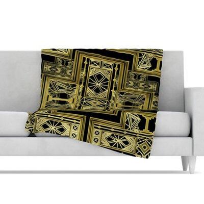 KESS InHouse Golden Art Deco Fleece Throw Blanket