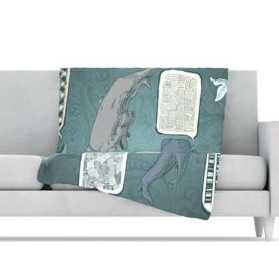KESS InHouse Whale Talk Fleece Throw Blanket