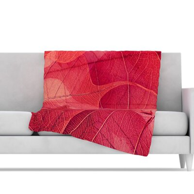 KESS InHouse Delicate Leaves Microfiber Fleece Throw Blanket